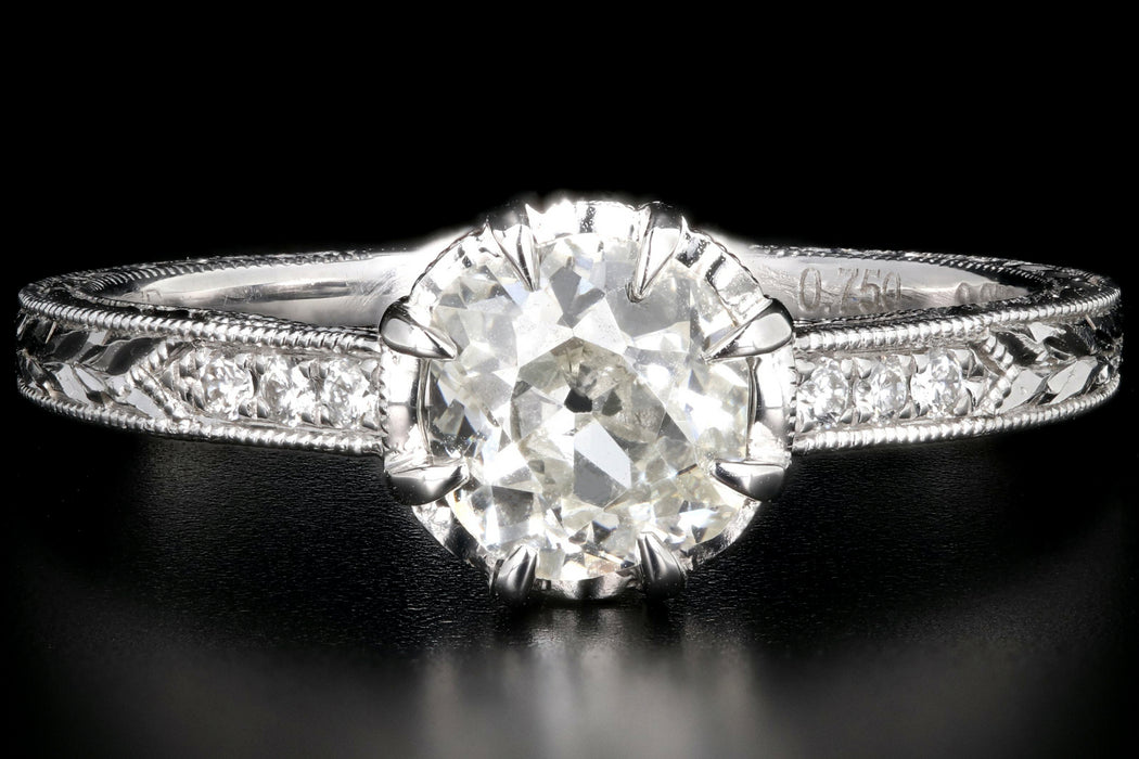 Modern 14K White Gold .75 Carat Old Mine Cut Diamond Engagement Ring GIA Certified - Queen May