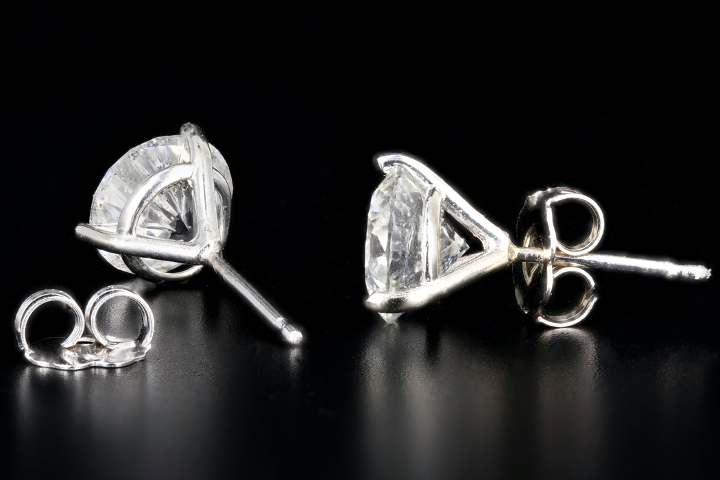 New 14K White Gold 3.38 Total Carat Weight Martini Studs - Queen May