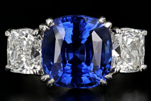 Platinum 7.2ct Madagascar Sapphire Flanked By Two 1.4ct G VS2 Diamonds - Queen May