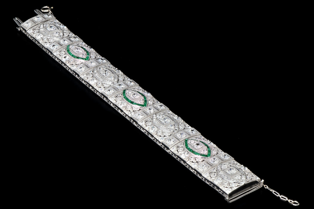 Art Deco Platinum 20 Carat Old European and French Cut Diamond and Emerald Bracelet - Queen May