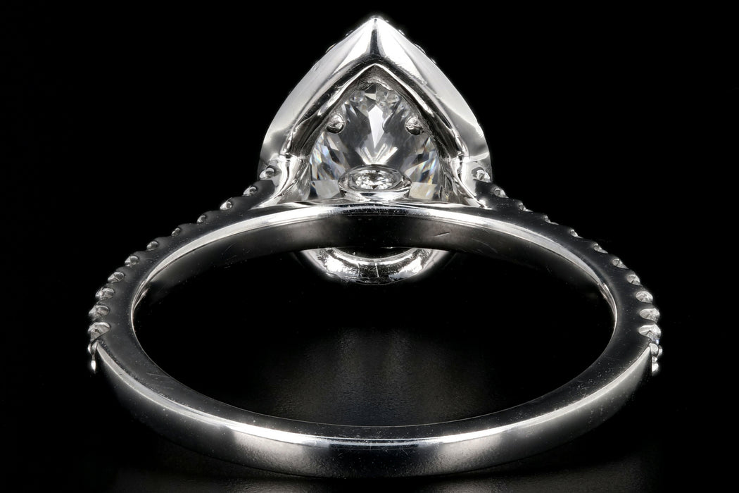 Modern 14K White Gold 1.08CT Pear Cut Diamond Ring GIA Certified - Queen May