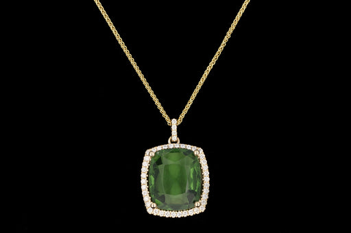 Modern 6.35CT Natural Green Tourmaline and Diamond Pendant Necklace - Queen May