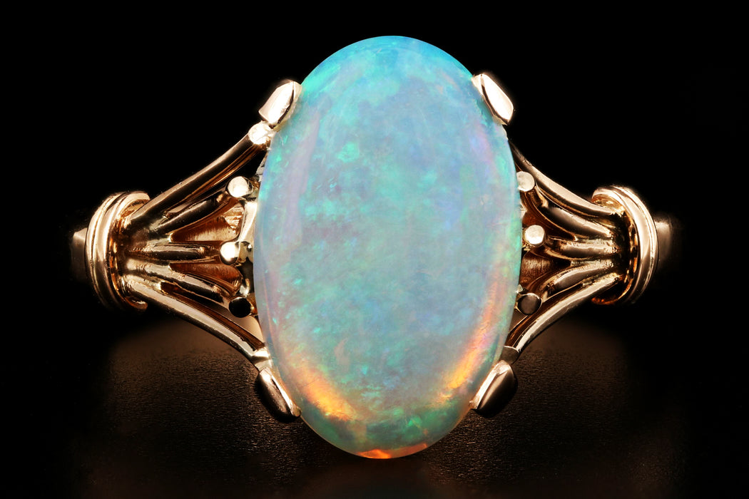 Victorian 14K Yellow Gold 1.78CT Opal Ring - Queen May