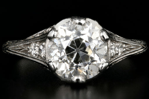 Art Deco Platinum 1.9 Carat Old European Cut Diamond Ring GIA Certified - Queen May