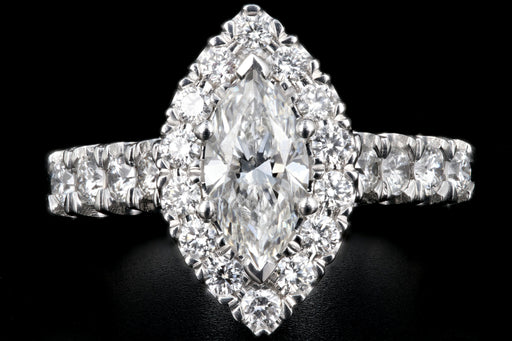 New Queen May .78 Carat Marquise Cut Diamond Halo Engagement Ring GIA Certified - Queen May
