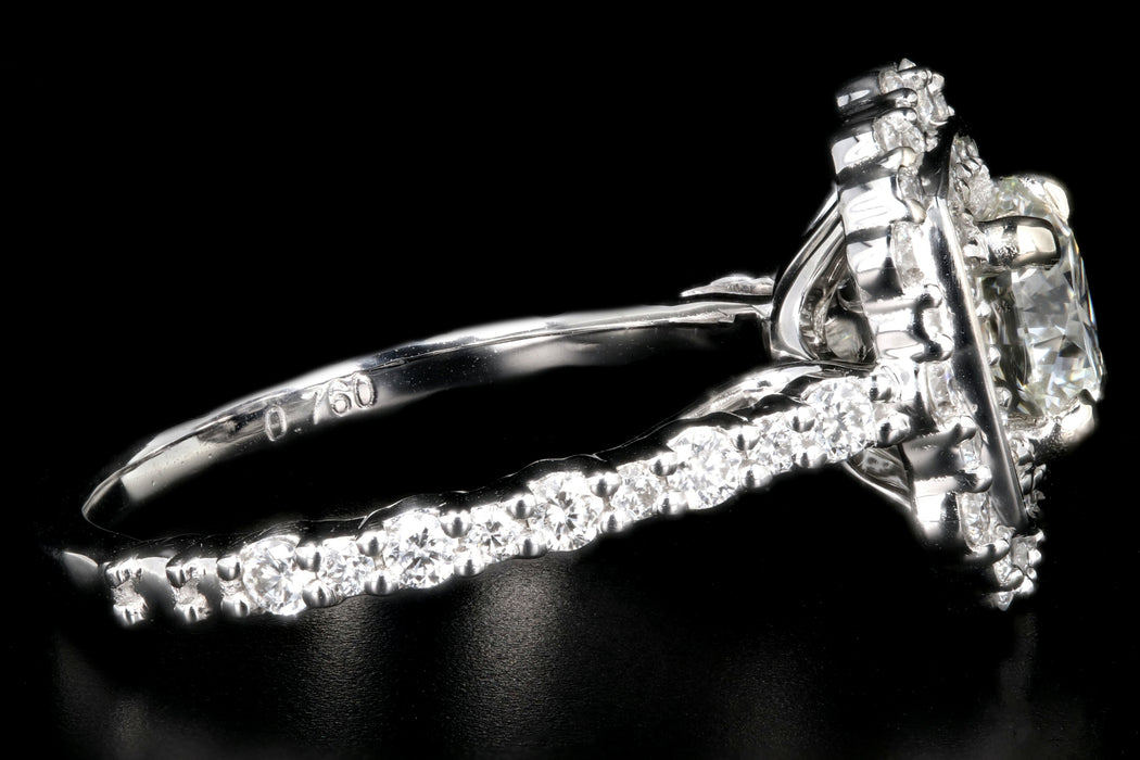 New  14K White Gold 1.06 Carat Diamond Halo Engagement Ring - Queen May