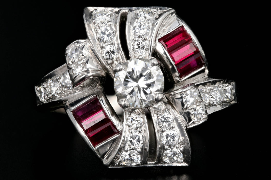 Retro Platinum 1.16 Carat Diamond and Ruby Cocktail Ring - Queen May