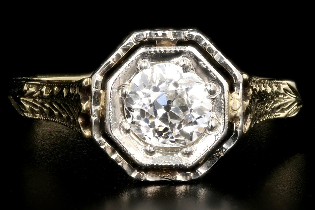 Art Deco 14K .52CT Old European Cut Diamond Engagement Ring - Queen May