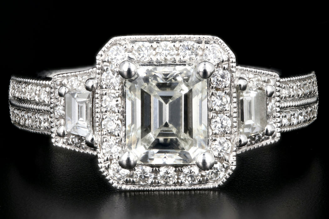 Modern 14K White Gold 1 Carat Emerald Cut Diamond Halo Engagement Ring - Queen May