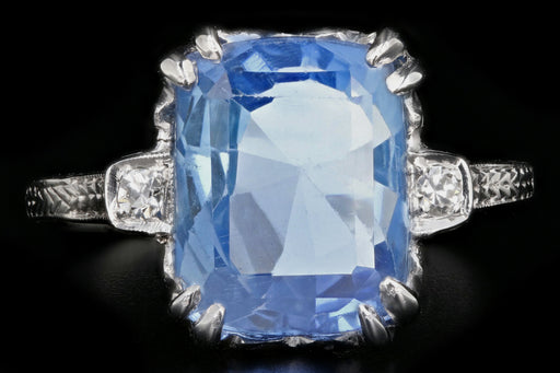 Art Deco Platinum 5.5 Carat Natural No Heat Ceylon Sapphire Ring GIA Certified - Queen May