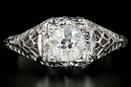 Art Deco 20K White Gold .78CT Old European Cut Diamond Engagement Ring - Queen May