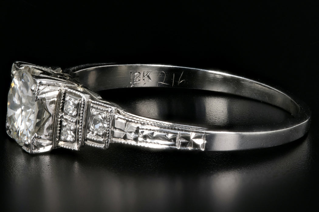 Art Deco 18K White Gold .60CT Old European Cut Diamond Engagement Ring - Queen May