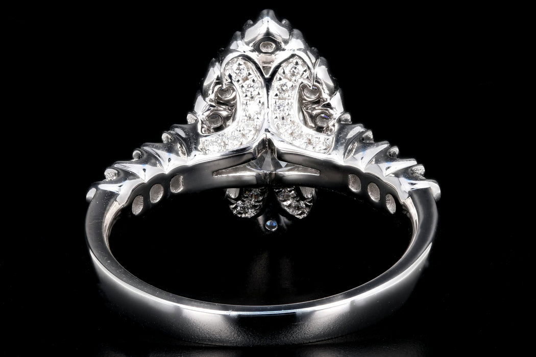 New 14K White Gold .78 Carat Marquise Cut Diamond Halo Engagement Ring GIA Certified - Queen May