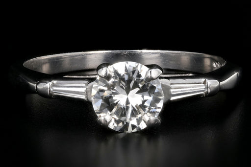 Vintage 14K White Gold .65 Carat Transition Cut Diamond Ring - Queen May
