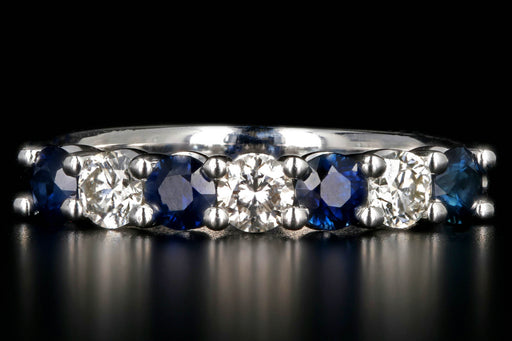 New 14K White Gold Diamond and Sapphire Half Band - Queen May