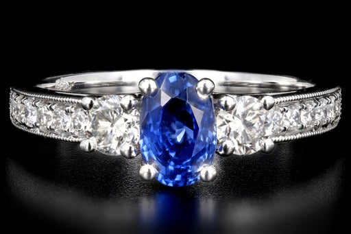 New 14K White Gold No Heat Natural Ceylon Oval Cut Sapphire and Diamond Ring - Queen May