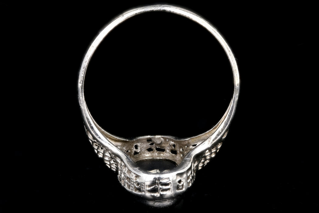 Art Deco 14K White Gold .25CT Old European Cut Diamond and Oynx Filigree Ring - Queen May