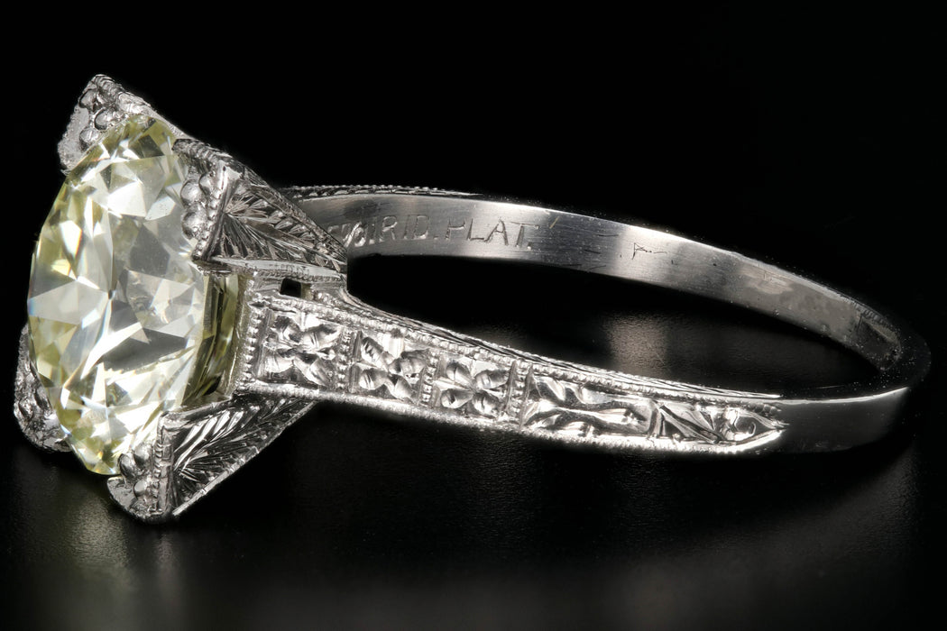 Art Deco Platinum 3.32 Carat Old European Cut Diamond Ring GIA Certified - Queen May