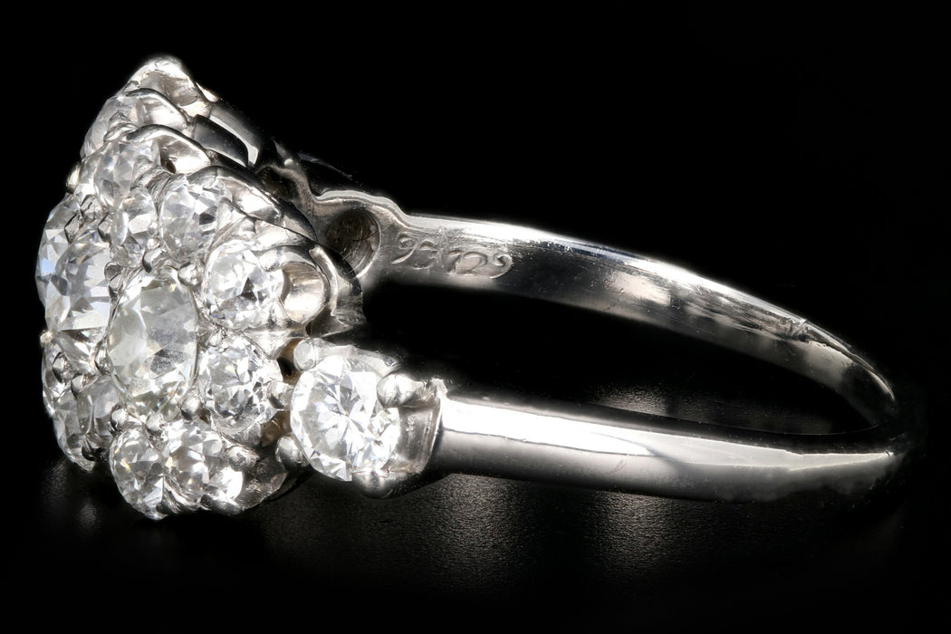 Edwardian 18K White Gold 2 Carat Old European Cut Diamond Band - Queen May
