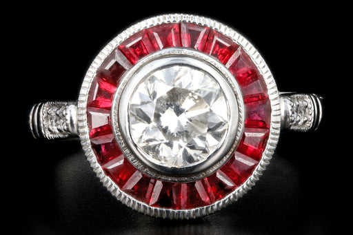 Art Deco Style 14K White Gold 1 Carat Diamond Ruby Halo Engagement Ring - Queen May