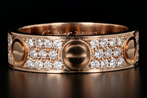 Cartier 18K Pink Gold Love Wedding Band Set With 88 Diamonds - Queen May