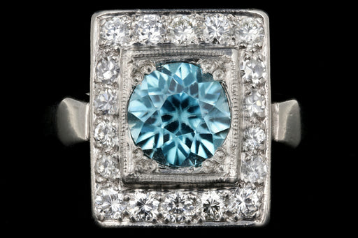 Mid Century Platinum 2.2CT Blue Zircon and Diamond Ring - Queen May
