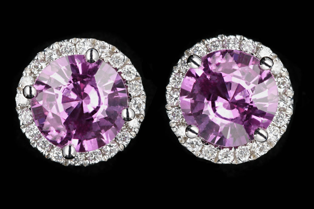 New 18K White Gold 2.5 Carat Pink Sapphire and Diamond Halo Earrings - Queen May