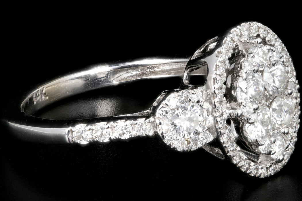 Modern 14K White Gold 1 Carat Total Weight Engagement Ring - Queen May
