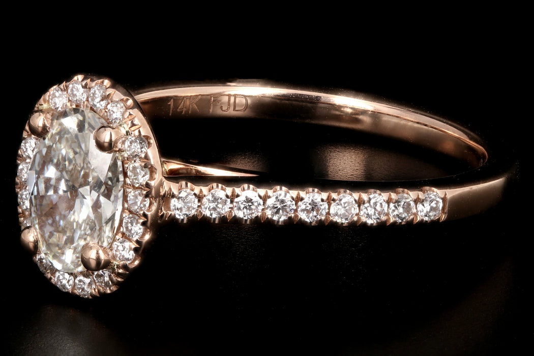 Modern 14K Rose Gold .80CT Oval Cut Diamond Engagement Ring GIA Certified - Queen May