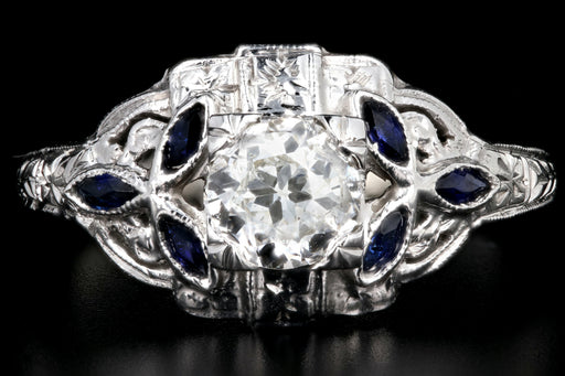 Art Deco 18K White Gold .60CT Old European Cut Diamond and Sapphire Ring - Queen May