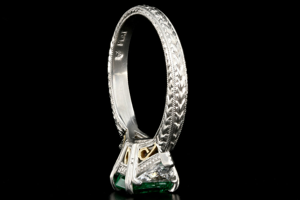 Modern Platinum and 18K Yellow Gold 1 Carat Emerald and Trillion Cut Diamond Ring - Queen May