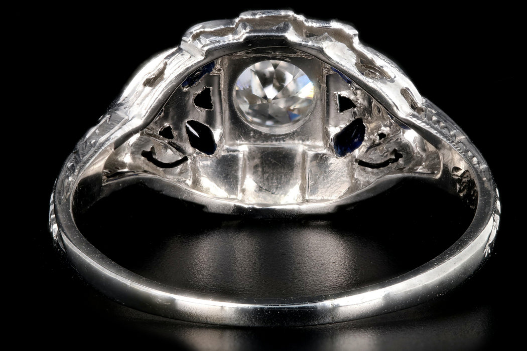 Art Deco 18K White Gold .60 Carat Old European Cut Diamond and Sapphire Ring - Queen May