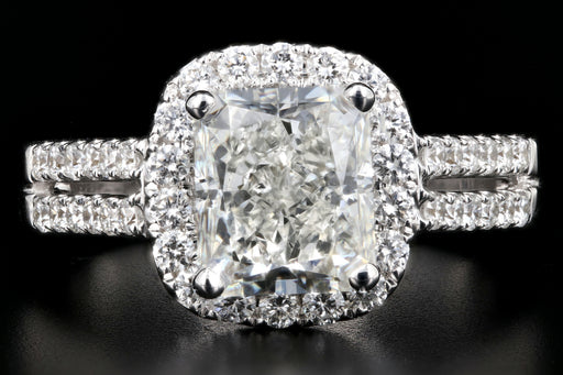 Modern 18K White Gold 2.43CT Radiant Cut Diamond Engagement Ring GIA Certified - Queen May