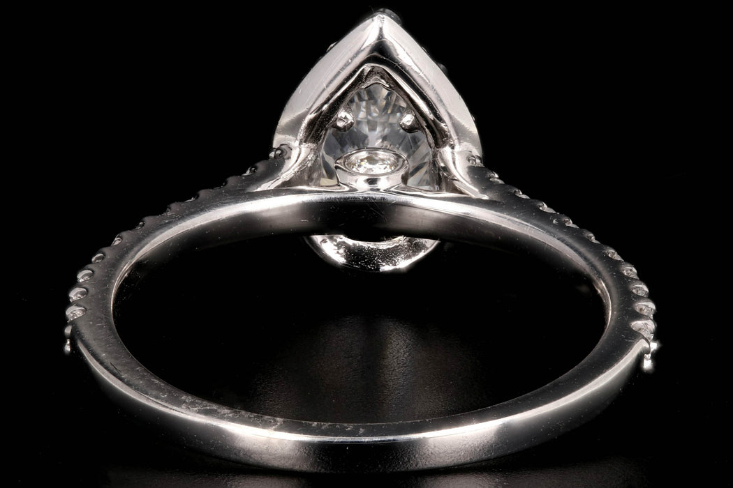 New 14K White Gold 1.01 Carat Pear Shaped Diamond Halo Ring - Queen May