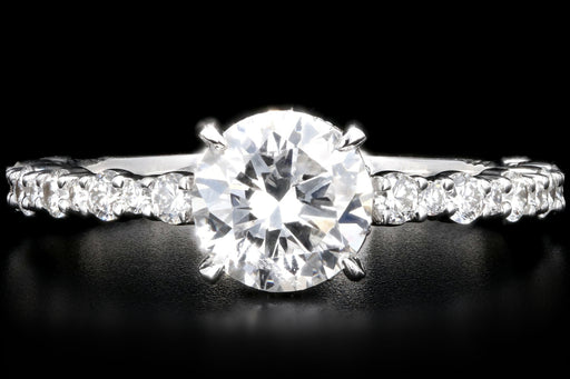 New 18K White Gold 1.09 Carat Round Brilliant Cut Diamond Engagement Ring GIA Certified - Queen May