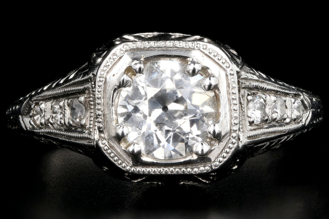 Art Deco Platinum .85 Carat Old European Cut Engagement Ring GIA Certified - Queen May