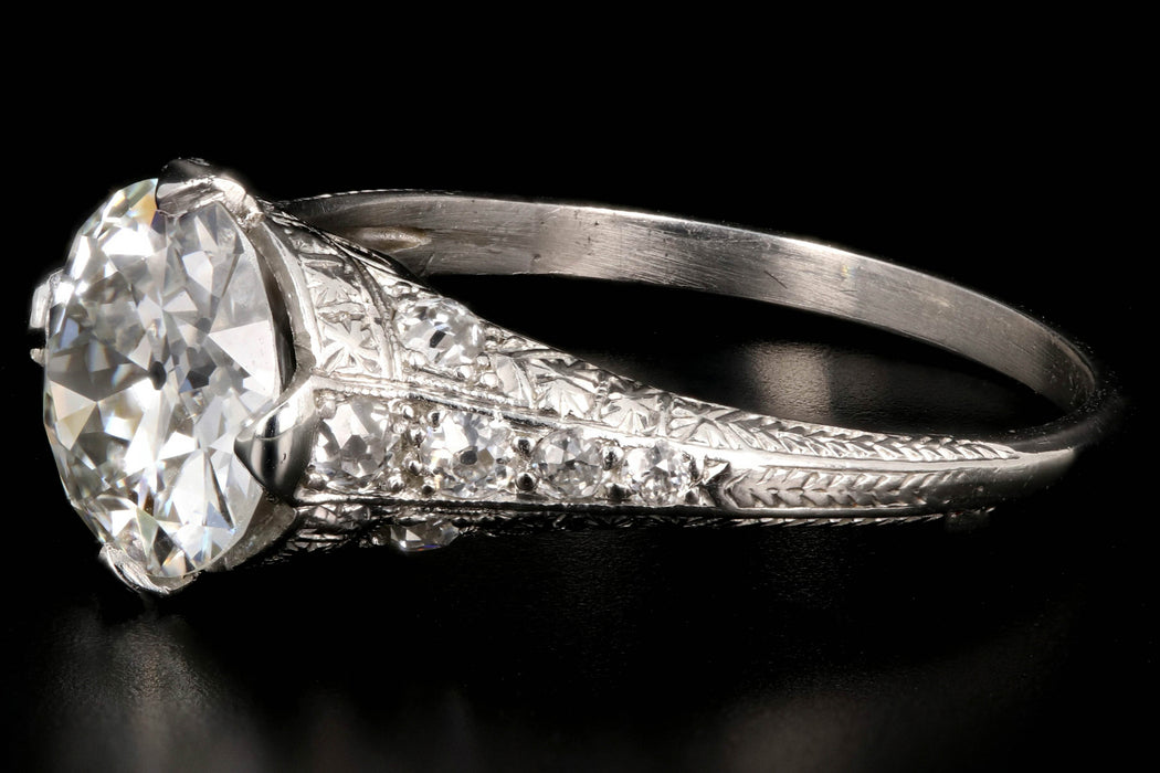 Art Deco Platinum 1.99 Carat Old European Cut Diamond Engagement Ring GIA Certified - Queen May