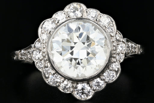 Edwardian Style Platinum 2.09 Ct Diamond Halo Engagement Ring GIA Paperwork - Queen May