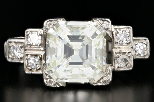 Art Deco 2.52CT Antique Asscher Cut Diamond Engagement Ring GIA Certified - Queen May