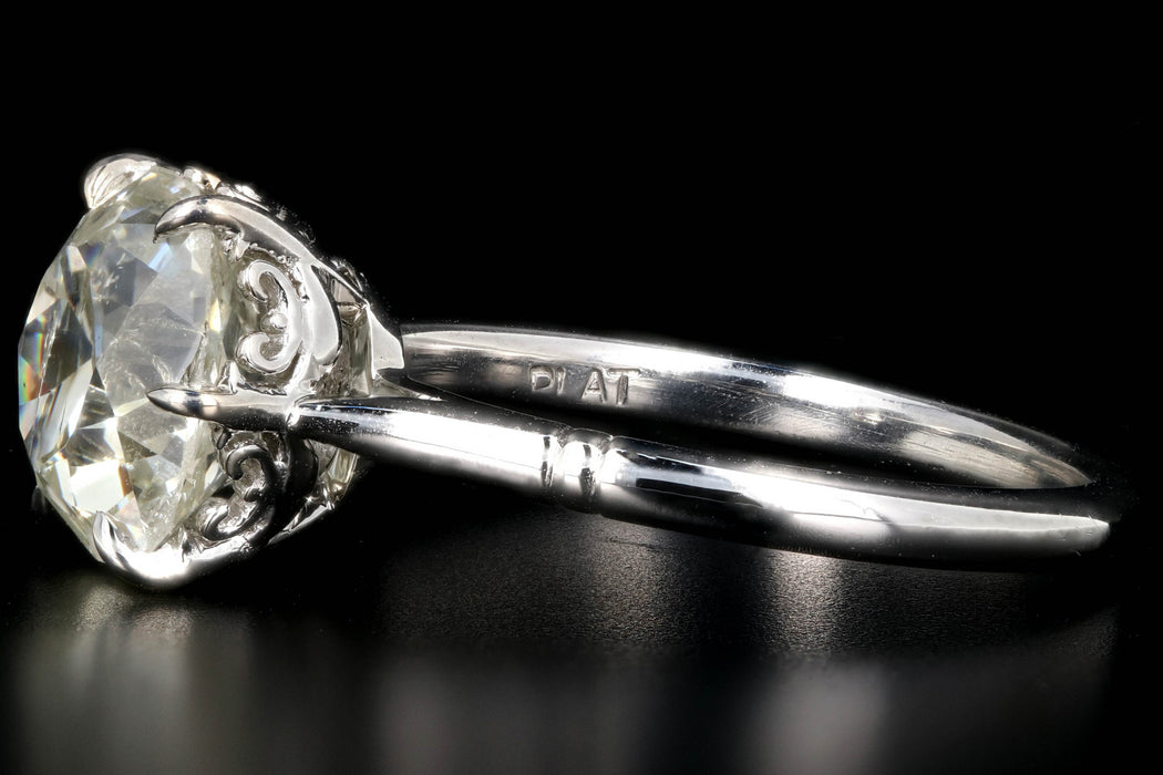 New Platinum 3.14 Carat Old Mine Cut Diamond Engagement Ring - Queen May