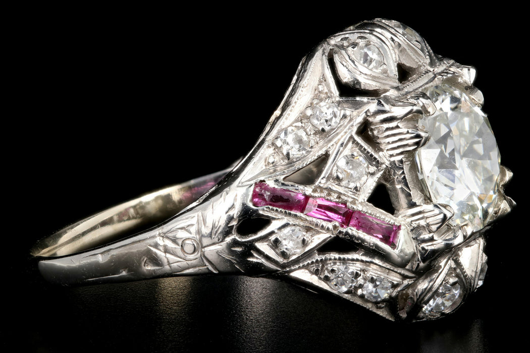 Art Deco 14K White Gold .97 Carat Transition Cut Diamond and Ruby Engagement Ring - Queen May