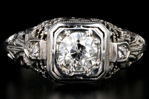 Art Deco 18K White Gold .63 Carat Old European Cut Diamond Engagement Ring - Queen May