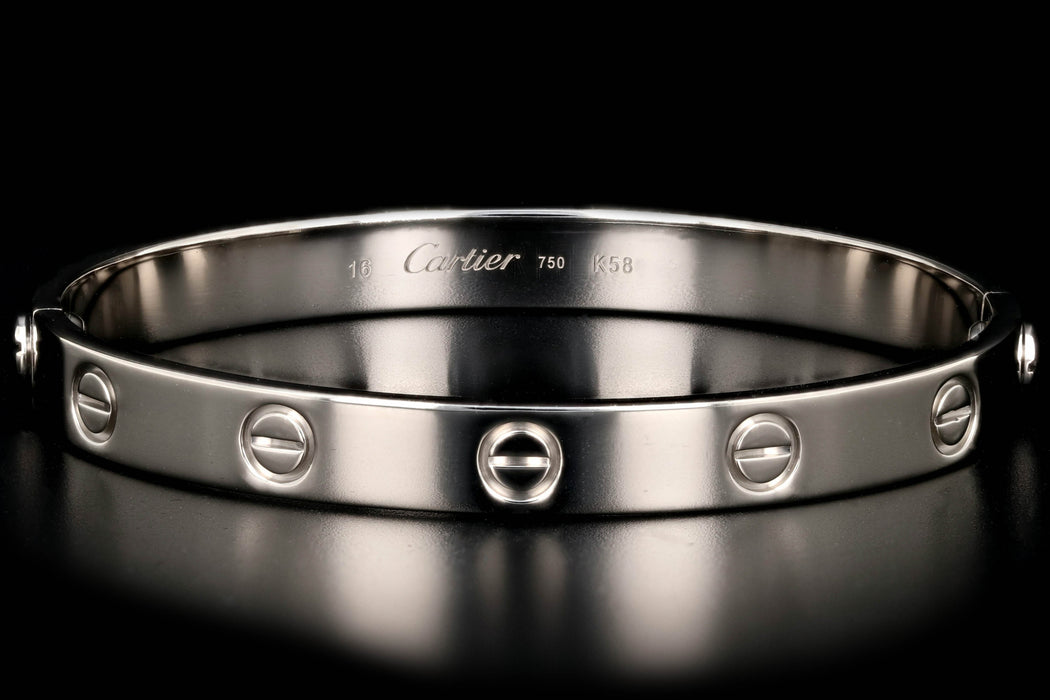 Cartier 18K White Gold Love Bracelet Size 16 - Queen May