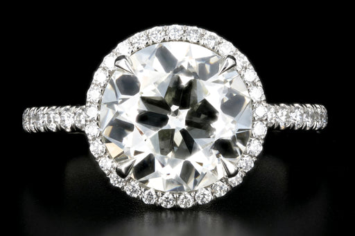 New Platinum 3.53 Carat Old European Cut Diamond Halo Engagement Ring GIA Certified - Queen May