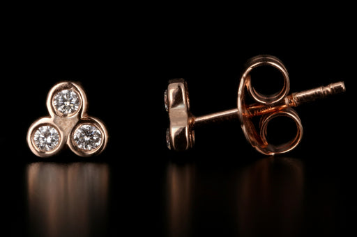 New 14K Rose Gold Diamond Trinity Stud Earrings - Queen May