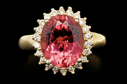 Modern 14K Yellow Gold 3.5 Carat Pink Tourmaline Diamond Halo Ring - Queen May