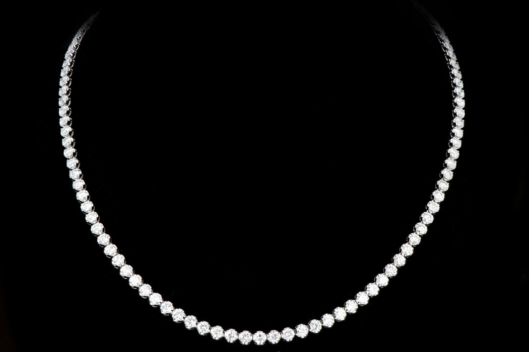 Modern 14K White Gold  20.35 Carat Diamond Tennis Necklace - Queen May