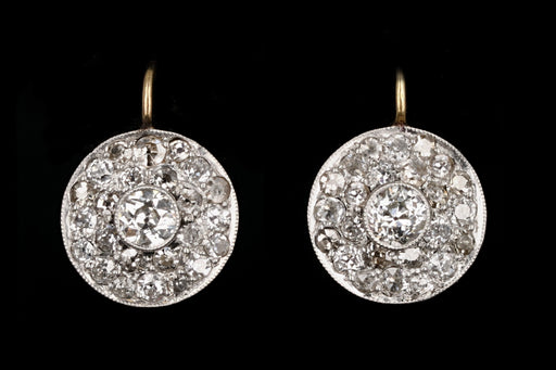 Edwardian Platinum & 14K Yellow Gold Diamond Cluster Earrings - Queen May