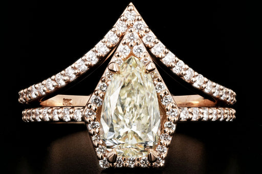 14K Rose Gold Pear Diamond Halo Engagement Ring w/ Matching Jacket Band Set