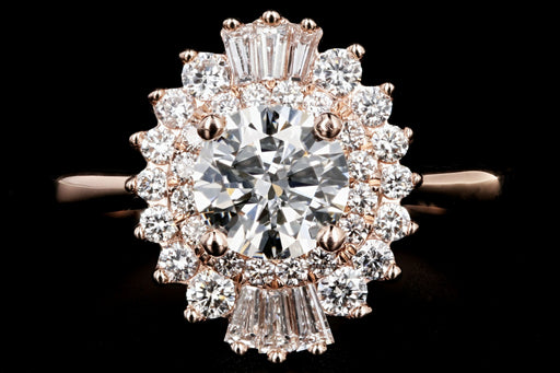 New 14K Rose Gold .88CT Round Cut Diamond Engagement Ring GIA Certified - Queen May
